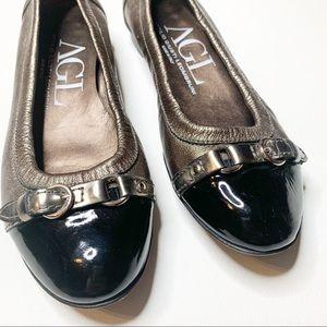 AGL Patent Cap Toe Ballet Flat black bronze